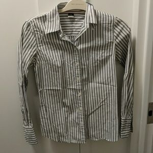 J Crew Slim Fit Button Down Navy and White stripe